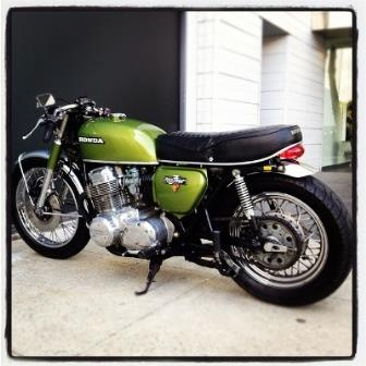 A photo of cafe racer motorcycle